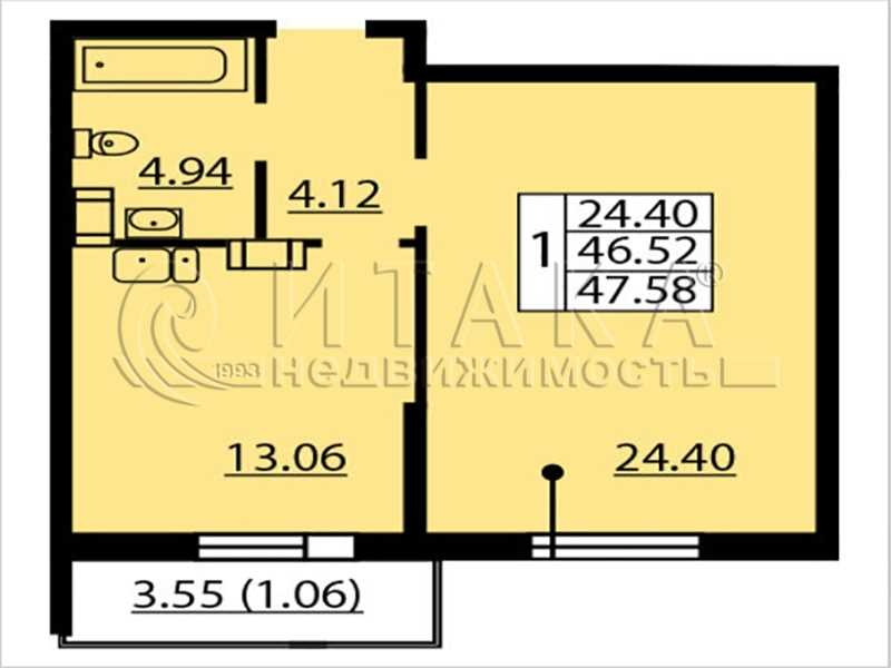 Продается однокомнатная квартира за 5 660 000 рублей. Санкт-Петербург, Балтийский б-р., д. 4.
