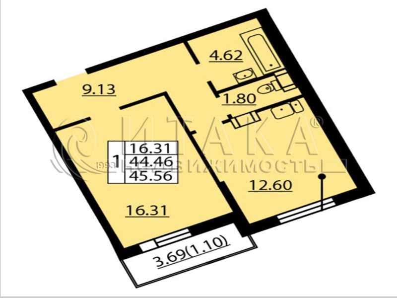 Продается однокомнатная квартира за 5 420 000 рублей. Санкт-Петербург, Балтийский б-р., д. 4.