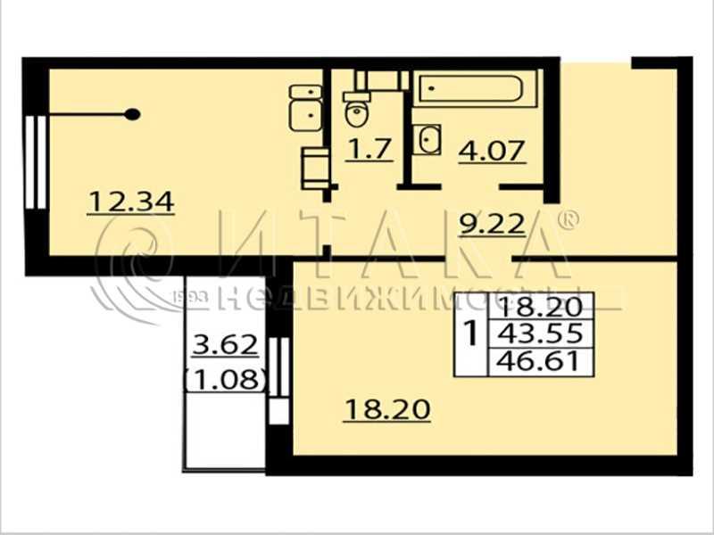 Продается однокомнатная квартира за 5 460 000 рублей. Санкт-Петербург, Балтийский б-р., д. 4.